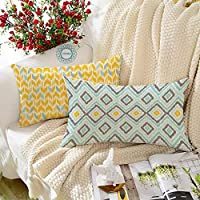 STITCHNEST Ikat Yellow Teal Printed Canvas Cotton Rectangular Cushion Covers, Yellowteal Combo Set of 2 (12 x 18 Inches)