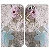 TienJueShi Sea Star Black Book-Style Flip Leather Protector Case Cover Skin Etui Wallet for Elephone S7 5.5 inch