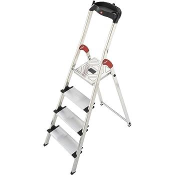 Hailo 0005259 Modelo XXL Escalera de Seguridad, Fabricada en Aluminio, Escalones Extra Profundos incluye Bandeja Multiplicación, Versión de 4 Peldaños: Amazon.es: Industria, empresas y ciencia