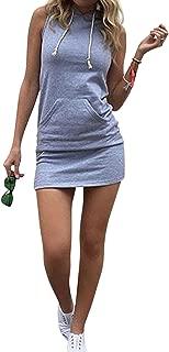 Women's Casual Drawstring Striped Bodycon Hoodie Dress