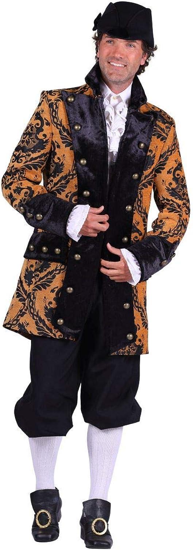 Thetru Herren Kostüm Barock Brokat Jacke gelb-schwarz Karneval Gr.M