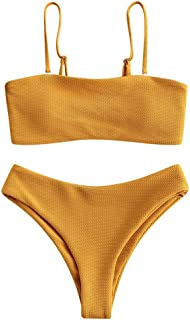 Bikini Textured Removable Straps Padded Bandeau Two Piece Bathing Suits for Women