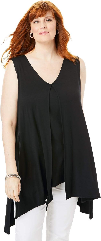 Jessica London Women's Plus Size Sleeveless Knit Flyaway Tunic Long Shirt
