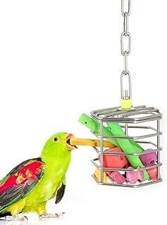 Hypeety Parrot Foraging Feeder Unique Parrot Bird Cage Hanging Feeder Parrot Hanging Foraging Toys with Blocks (Feeder+Blo...
