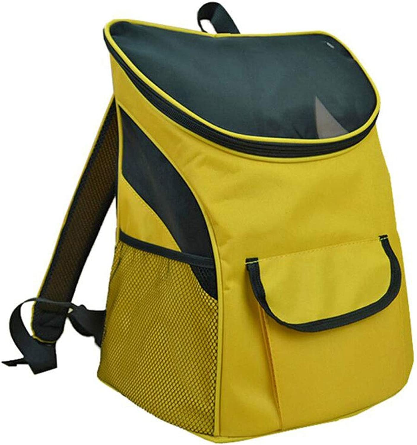 FJH Breathable Pet Box Cage Cat Dog Backpack Portable Travel Transport Car Out Of Consignment 4 colors (color   Yellow, Size   36  27  40cm)
