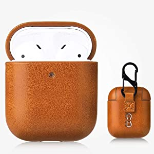 iDream365 AirPod Case [Front LED Visible] Shockproof Protective PC Plastic Inner+PU Leather Crazy Horse Pattern Cover Skin Designed for Apple AirPod 2 & 1, Women Men, with Keychain-Light Brown