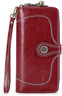 Retro Wallet Women Flower Button Real Leather Vintage Ornament Bifold Long Purse Zipper Strap Party Casual Travel