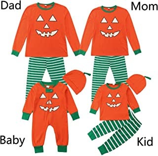 Iusun Family Pajamas Matching Sets, Men Women Newborn Baby Boy Girl Family Halloween Pumpkin Outfits Romper Sleepwear Tops + Pants