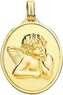 Medalla Ángel de la Guarda Oro Amarillo 18 Kilates 24mm - Joya Personalizable, Grabado gratuito