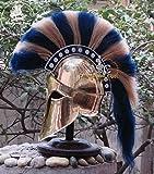 Historicalmuseum médiéval grec Corinthian Armour casque Bleu et blanc Plume Knight...