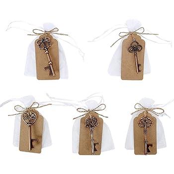 GoMaihe 50 Stücke Schlüssel Flaschenöffner, 5 Stile Vintage Flaschenöffner Schlüsselanhänger, Durchsichtige Tasche, Geschenkanhänger, Gastgeschenke Hochzeit Tischdeko Geburtstag Hochzeit Bieröffner