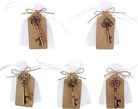 GoMaihe 50 Stuks Sleutel Flesopener, 5 Stijlen Vintage Flesopener Sleutelhanger, Doorzichtige Tas, Cadeaukaart, Feestartik...