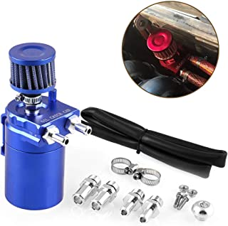 Tasan Racing Universal Aluminum Oil Catch Can Baffled Engine Air Oil Separator Reservoir Tank with Breather Filter Blue