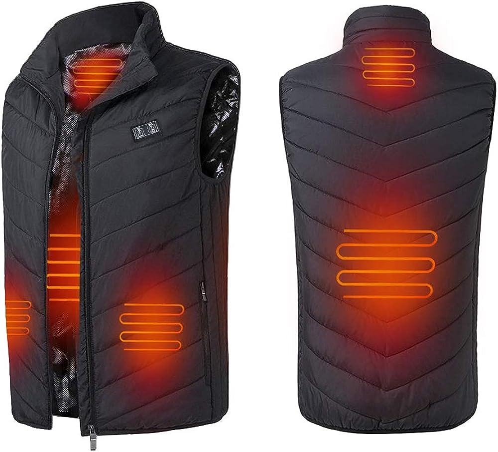 Cocobla Unisex Adjustable Heated Vest Lightweight USB Electric Heating Waistcoat Jacket (Power Bank Not Included)
