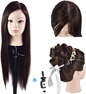 "Cosmetology Mannequin Head with Hair for Braiding 26"" Brown Training Head Manikin Doll Head Synthetic Fiber Hair with Clamp"