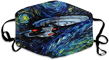 XS-Fashopping Uv Protection Breathable Mouth Guard, Star Trek Oil Painting Art Pollen Pollution Half Face Protection Cover for Men Women - Adjustable Ear Loops