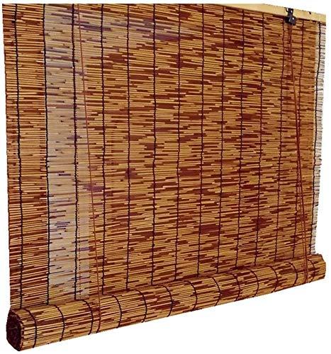 SWB Blinds Cortina de caña Natural, Cortina de bambú, carbonización Persianas Romanas Ver Ventana, Sombra/Blackout, Ciego de Rodillo de bambú Decorativo, Transpirable, para al Aire Libre/Interiores