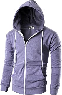RkBaoye Mens Front Zipper Hooded Hoodie Drawstring Long Sleeve Outwear