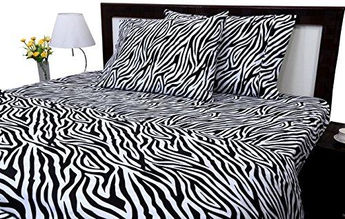 Aashi Rainwear Bed Sheet Set - 100% Long Staple Cotton Twin-XL Size Zebra Print (12 Inch Drop)