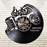 CVG Record Studio Vintage 12 & quot; Schwarz Hängende Wanduhr Musiknote Rock'n'Roll Headset...