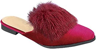 Victoria Designer Furry Flat Heel Slip On Scuff Slippers Shoes for Women (Assorted Styles)