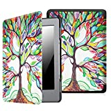Fintie Slim Case for Kindle 5 & Kindle 4 - The Thinnest and Lightest PU Leather Cover with Magnet Closure (Only Fit Kindle with 6'' E Ink Display, Does Not Fit Paperwhite or Touch), Love Tree