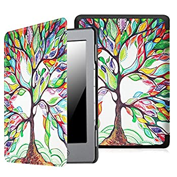 Fintie Slim Case for Kindle 5 & Kindle 4 - The Thinnest and Lightest PU Leather Cover with Magnet Closure  Only Fit Kindle with 6   E Ink Display Does Not Fit Paperwhite or Touch  Love Tree