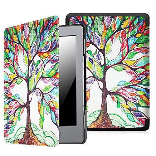Fintie UltraSlim Case for Kindle 5 & Kindle 4 - The Thinnest and Lightest PU Leather Cover with Magnet Closure (Only Fit Kindle with 6'' E Ink Display, Does Not Fit Paperwhite or Touch), Love Tree