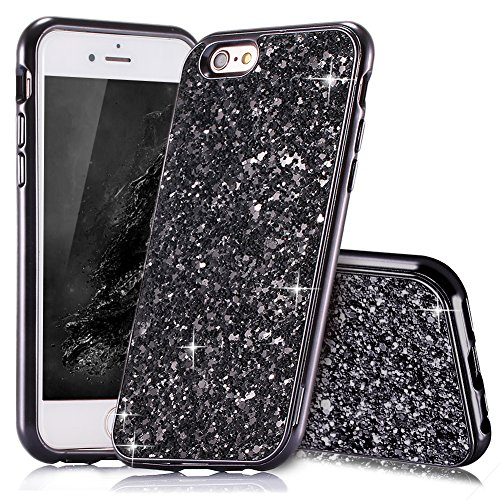 HUDDU Kompatibel mit iPhone 6 Plus Hülle Glitzer iPhone 6S Plus Handyhülle Bling Glitter Case Hart PC Bumper Hard Back Cover Abdeckung Sparkles Schutzhülle für iPhone 6s Plus 5.5 Zoll Schwarz