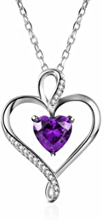 Caperci 925 Sterling Silver Heart Pendant Necklace Made with Heart Created Amethyst