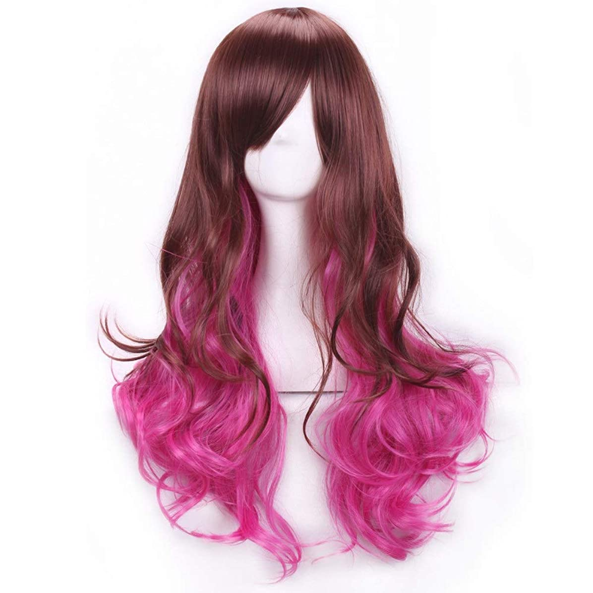 ガイドライン修羅場グラフィックかつらキャップでかつらファンシードレスカールかつら女性用高品質合成毛髪コスプレ高密度かつら女性&女の子用ブラウン、ピンク、パープル (Color : ピンク)
