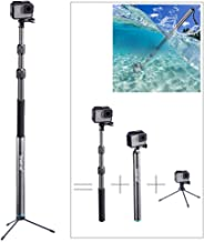 Smatree S3C Carbon Fiber Detachable Extendable Floating Pole with Tripod Stand Compatible for GoPro Hero Fusion/8/7/6/5/4/3 Plus/3/GoPro Hero 2018/DJI OSMO Action Camera