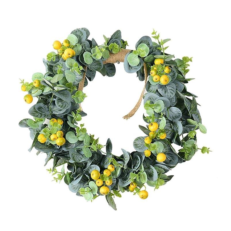 食欲厳理容師装飾品 祭りのお祝いの前面扉ウォール暖炉ローレルチューリップハンガーホームのための手作りの15インチ花輪人工花輪はインテリアリラックス クリスマス (Color : A)