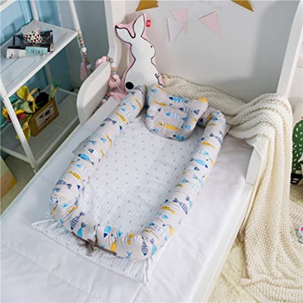 WJXBoos Baby Bassinet For Bed  Baby Lounger  Breathable  amp  Hypoallergenic Co-sleeping Baby Bed  100  Cotton Portable Crib  0-months-n 35 4 w 21 6 h 5 9
