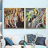Geiqianjiumai Pintura al óleo Abstracta Moderna del Caballo Arte de la Lona Regalo decoración del hogar Sala de Estar Arte de la Pared Pintura sin Marco 70X70cm
