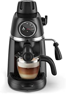 Steam Espresso Machine with Milk Frother, 1-4 Cup Coffee Maker with Thermometer, Latte Cappuccino Machine Includes Carafe,...