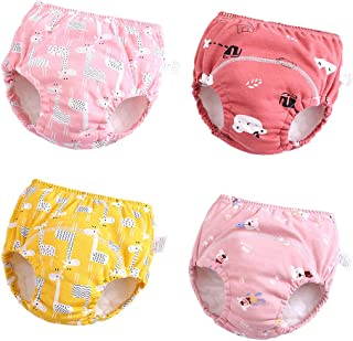 Baby Girls' 4 Pack Cotton Training Pants Toddler Potty...