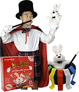 BrilliantMagic Kids Magician Role Play Set with Magic Cape Top Hat Rabbit Magic Wand Gloves and Coloring Ribbons …