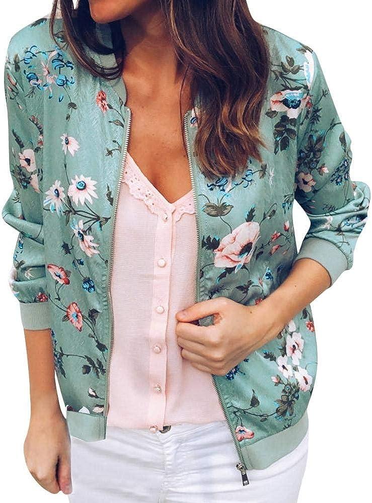 HGWXX7 Women's Casual Floral Print Bomber Jacket Long Sleeve Zip Up Coats Outwear