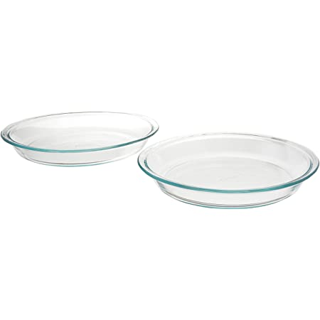 """Pyrex 6001003 Glass Bakeware Pie Plate 9"""" x 1.2"""" Pack of 2, 5.2, Clear"""