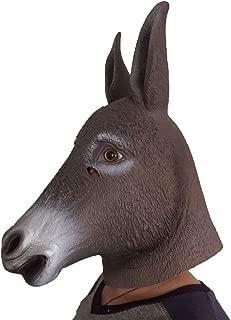 WitHelper Halloween Donkey Latex Mask Realistic Animal Headpiece Mask