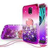 SOGA Cover Compatible for Samsung Galaxy J7 (2018) J737/J7 Star/J7 Refine/Galaxy J7V (2018) Case, Liquid Floating Quicksand Case with Diamond Metal Ring for Magnetic Car Mount - Purple on Pink