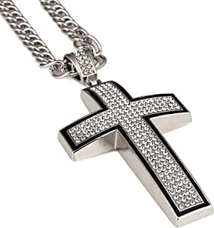 Hip hop 18K Gold Plated Jesus Cross Pendant with Rhinestone Chain Necklace Mens Jewelry for Present