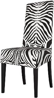 DOGPETROOM Funda grande para silla de comedor, diseño de piel de cebras, respaldo alto, para hotel, fiesta, boda, cocina