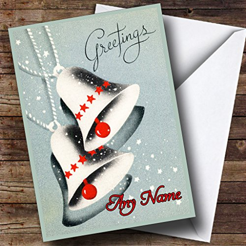 Grijze Klokken Vintage Traditionele Gepersonaliseerde Kerstvakantie Groeten Card