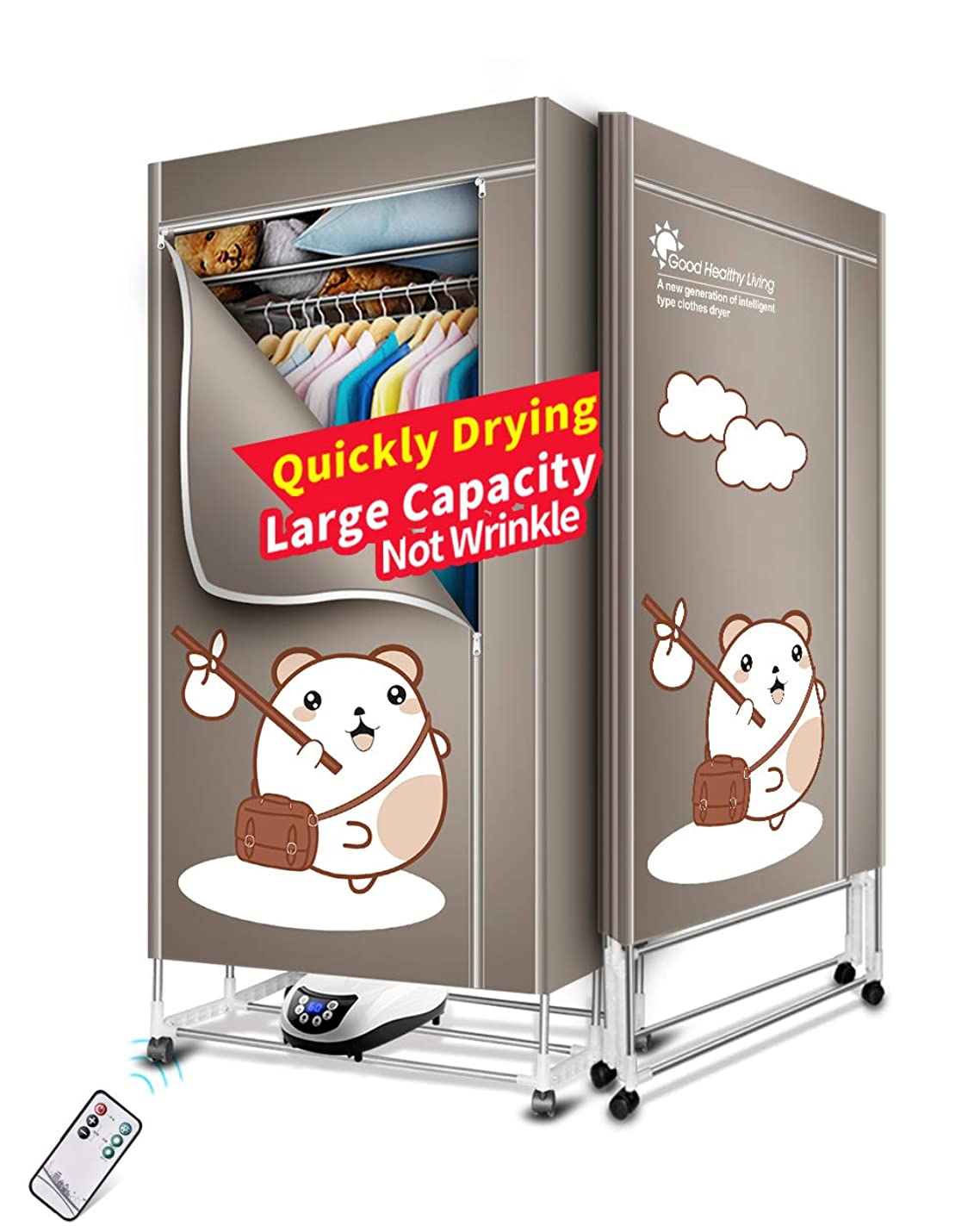 KASYDoFF Clothes Dryer Portable 3-Tier Foldable Clothes Drying Rack Energy Saving (Anion) 1.7 Meters Clothing Dryers Digital Automatic Timer with Remote Control for Apartment House