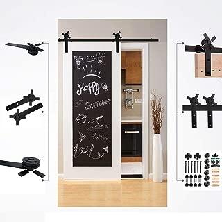 CCJH 15FT Sliding Barn Door Hardware Kit, Heavy Duty, Black Single Door Rail, Easy Installation, Fit 90