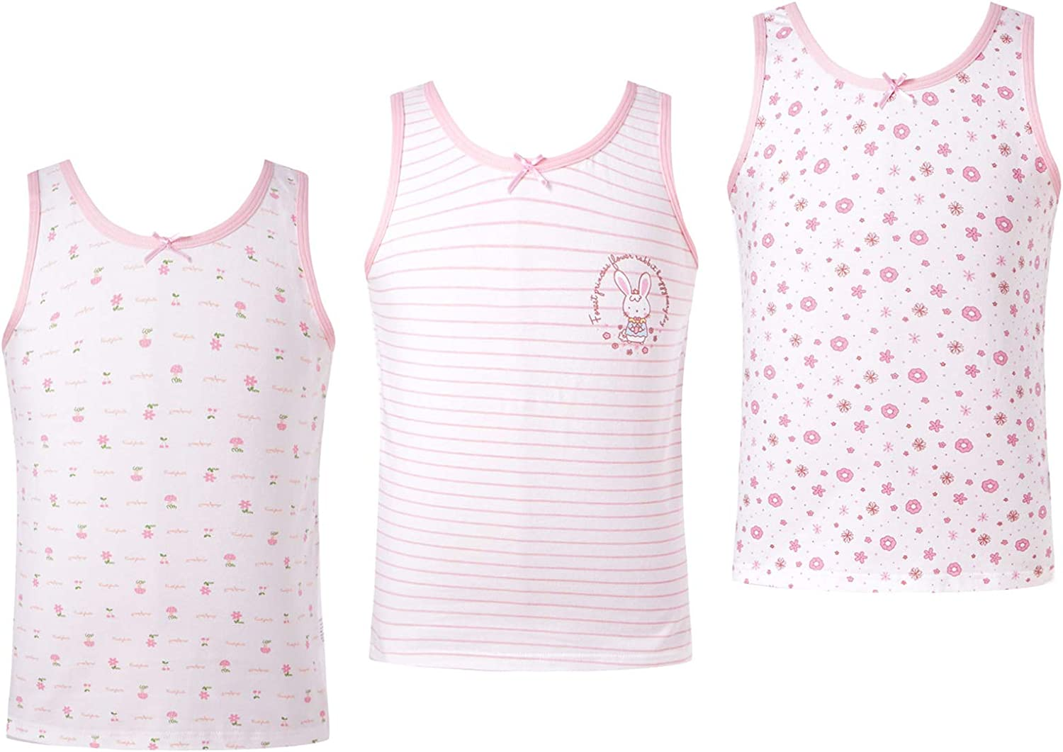 Jowowha Little Big Kids Girls Cotton Print Tank Tops Summer Camisole Undershirt Casual Outfit