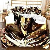 WHYSS Fundas para Edredón,Attack On Titan Anime Impresión 3D Adolescentes Suave Microfibra Cepillada Funda De Edredón con Cierre De Cremallera Fundas De Almohada Juego De Cama Superking:260X220