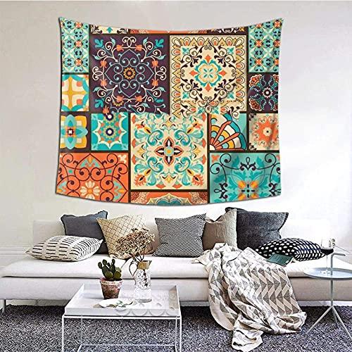 Tapiz para colgar en la pared, colorido mosaico árabe azulejo de mosaico árabe, manta de pared para sala de estar, dormitorio, decoración del hogar, 152 x 130 cm